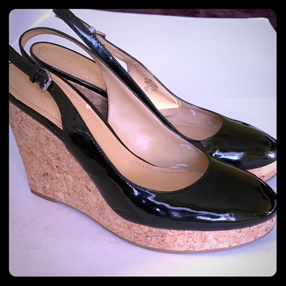Black patent leather platform wedges US woman 10